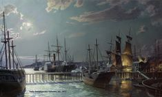John Stobart (Anglo-American, born 1929)  San Francisco, The Gold Rush Harbor by Moonlight in 1851