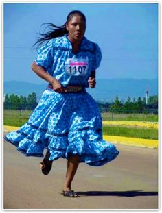 This is a Tarahumara young woman, identified as Maria Salomé (identified as, meaning not her indigenous name, but the name that officials preferred to label/identify her as, with intention to further confuse/misplace people), ran in 'K10 Marathon 2012', and won by far!  With no running shoes but sandals, no fancy sport clothing but a dress, with her hair loose... She proudly represented her indigenous people, the Tarahumara people of Chihuahua, and every indigenous woman of Mexico.