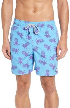 Tom & Teddy Pineapple Print Swim Trunks Men's Swimsuits, Men's Toms, Pineapple Print, Swim Trunks, Quick Dry, Elastic Waist, Fabric, Tejido, Tela