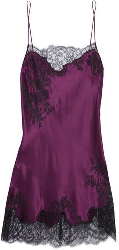 Carine Gilson - Chantilly Lace-trimmed Silk-satin Chemise - Burgundy