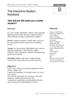 Starting the School Year Right: Lesson B - The Interactive Student Notebook (ISN)