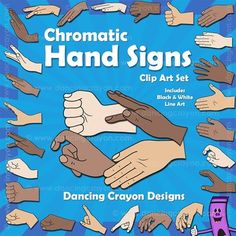 #Kodaly / Curwen Chromatic Hand Signs - Clip Art Images in different skin tones. Includes variations in hand signs.  Perfect for #MusicTeachers