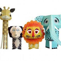 Paper kit safari animals, great for kids safari birthday parties