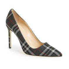 """Manolo Blahnik 'BB' Pointy Toe Pump , 4"""" heel ($695) ❤ liked on Polyvore featuring shoes, pumps, grey plaid fabric, pointed-toe pumps, grey shoes, tartan shoes, pointed toe shoes and plaid shoes"""