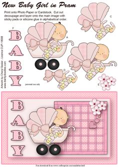 Baby 3D card topper Baby Girl Clipart, Baby Shower Clipart, Silicone Glue, Sticky Pads, Baby Shawer, Free Frames, Scrapbook Templates, New Baby Girls, New Print