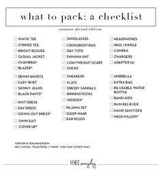weekend travel packing list