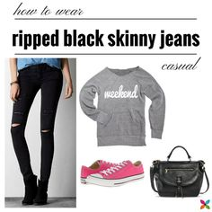 How to wear ripped black skinny jeans - Savvy Sassy Moms