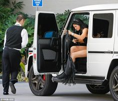 The star Kylie Jenner left her Mercedes-Benz G Wagon with a valet outside the shopping center