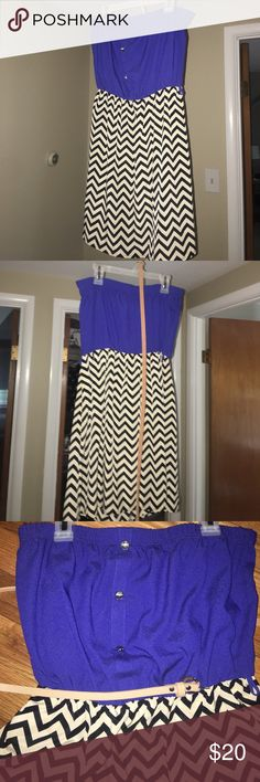 Francesca's Blue and chevron mini dress Royal blue with black and off white chevron printed mini dress. 100% polyester. Comes with tan belt. Never been worn. millibon Dresses Mini