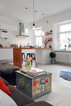 By now you all know how much Jo and I love Swedish decor. Home Decor Kitchen, Home Kitchens, Kitchen Design, Kitchen Peninsula, Kitchen Island, Sweet Home, Kitchen Benches, Scandinavian Kitchen, Piece A Vivre