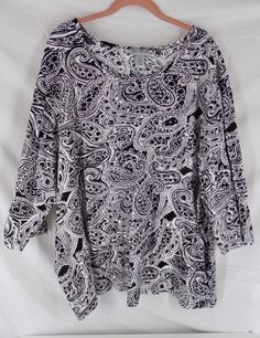 2a9c308e41 Catherines s 3X Black White Paisley Print Stretchy Cotton 3 4 Sleeve Shirt   Catherines