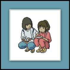 Free Haku And Chihiro Cross Stitch Pattern Spirited Away Studio Ghibli Anime Nerdy by Cross Stitch Quest