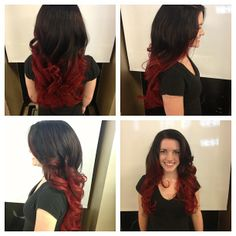 Dark brown to bright red ombre! brown to red ombre, ombre hair