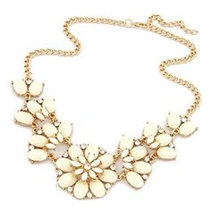 JSDY Womens Bohemia Rhinestones Flowers Pendants Fashion Jewelry Bib Necklace White >>> Continue to the product at the image link.(This is an Amazon affiliate link and I receive a commission for the sales)