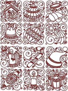 Free Redwork Quilt Patterns | Advanced Embroidery Designs - Redwork Christmas Block Set.