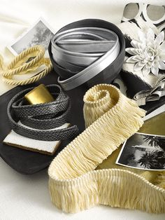 Robert Allen trim Library Brush in Sunray, Patent Cord in Zinc, Python Cord in Chalkboard, and Library Rope in Sunray. Grey Yellow, Gray, Passementerie, Robert Allen, Color Lines, Happy Colors, Cool Designs, Python, Window Treatments