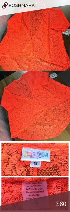 LuLaRoe Lindsay Open Front Lace Kimono Cardigan New with Tags!  LuLaRoe Lindsay Open Front Kimono / Cardigan Size: Small Color: Coral (bright orange) Pattern: Lace  The LuLaRoe Lindsay can be worn in so many different ways. Over a bathing suit, with a cotton T and jeans or even a beautiful dress. The options are endless. LuLaRoe Sweaters Cardigans