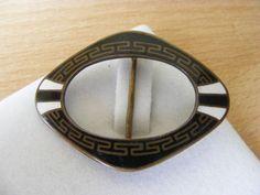 Antique Victorian Vintage Enamel Buckle Enamel Greek Key