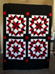 Solid white, black, and red Carpenter's Wheel lap quilt by AuntieEmsCrafts
