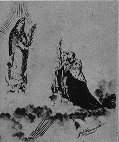 Dibujo de la pareja imperial de México, Maximiliano y Carlota ante la Virgen de Guadalupe.