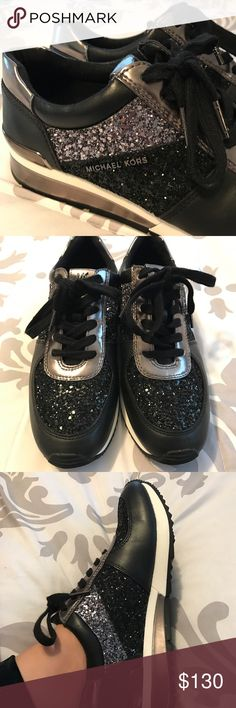 Michael Kors GLITTER sneakers MICHAEL MICHAEL KORS Allie Glitter and Vachetta Leather Active training sneakers with glittery accents Worn ONE time.. I'm not much of a sneaker person but I love glitter so I bought these and they are just sitting there. These are ridiculously comfortable! So if they don't sell for a good price I wouldn't mind.  Glitter, vachetta leather and metallic upper Lace-up style Lined Rubber sole Padded insole Michael Kors Shoes Athletic Shoes