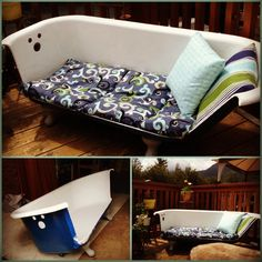 Our clawfoot tub couch! Finally we did it!! :) Loving this piece as our new deck furniture.  I was first inspired by this: http://www.curbly.com/forums/2-ask-a-question/topics/180-how-can-i-make-a-clawfoot-tub-into-a-couch