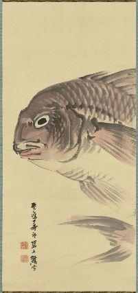 Tai  鯛図  Kyoto, 1867  Shiokawa Bunrin, Japanese, 1808–1877, Hanging scroll; ink and color on paper, MFA