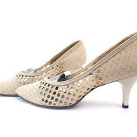 Vintage 1960s Woven Shoes High Heel Pumps Cream Straw size 6 1/2 7
