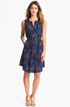 Belted Pleat Front Dress
