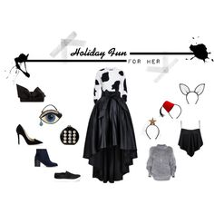 Holiday Fun For Her by tweewu on Polyvore featuring Moschino, Boohoo, Jimmy Choo, Shellys, Forever 21, Christian Louboutin, Betsey Johnson, Maison Michel and Piers Atkinson What To Wear Today, Unique Outfits, Holiday Fun, Betsey Johnson, Moschino, Jimmy Choo, Boohoo, Christian Louboutin, Forever 21