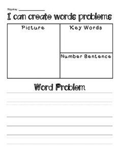 This worksheet is a great way to assess students' understanding of word problems. The students have to write their own word problem, record the key words, write a number sentence, and illustrate the problem.