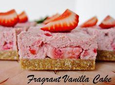 Raw Strawberries and Cream Bars | Fragrant Vanilla Cake
