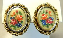 Vintage Hand Painted Rose Bouquet Clip Earrings