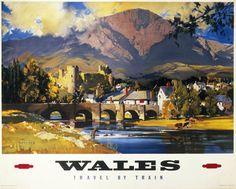 Vintage UK Railway Poster Posters Uk, Train Posters, Railway Posters, Conway Castle, Welsh Castles, British Travel, Vintage Travel Posters, Vintage Ads, Vintage Metal