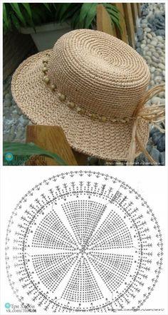 Than Fedora Hat Crochet Pattern Free 15 # knit crochet hat pattern Crochet Summer Hats, Crochet Cap, Crochet Diagram, Crochet Beanie, Crochet Motif, Crochet Stitches, Knitted Hats, Crochet Patterns, Knitting Patterns