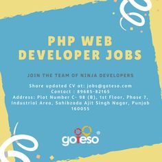 PHP Web Developer Jobs in Mohali #PhpJobs #PhpWebDeveloper #PhpJobsInMohali #PhpDeveloperJobsInMohali