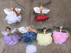 Christmas Spring flower fairy dolls, fairy ornaments, handmade fairy dolls, Christmas Spring decorations, fairy tree ornaments are One of a kind fairies and ready for joining your sweet home. These flower fairy dolls are made out of natural wood beads, floral wire, French cotton