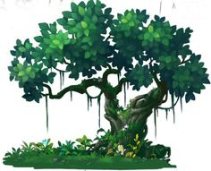 游戏美术资源手绘植物 花草树木 PSD分层素材 高清2D横版场景修图-淘宝网