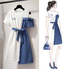 Round neck button ornament fashion asymmetric color shouldered belted dress
