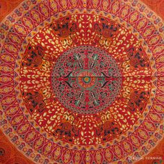 Indian Red Floral Bird Paradise Mandala Tapestry Bed Cover on RoyalFurnish.com, $22.99