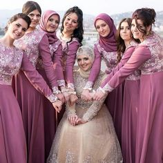Congratulations sister MashaAllah you and your bridesmaids look so lovely 💗 Dress by ♥ . Muslim Wedding Dresses, Muslim Brides, Muslim Dress, Bridal Hijab, Hijab Bride, Bridesmaid Poses, Bridesmaid Dresses, Hijab Dress Party, Hijab Look