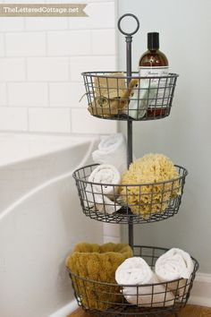 Tiered Storage | Cottage Bathroom | The Lettered Cottage