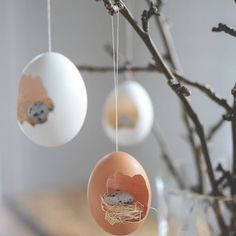 Hur söta är inte dessa små fågelbon att hänga i påskriset!?  | DIY Easter decorations   #diy#påskpyssel#easter#decorations#pyssel#ägg#påskris#inspiration#inredahemma#interior#interiør#inredningstips#inredningsinspiration by harmoniinredning