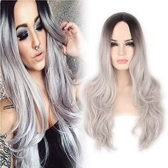 YOPO Grey Ombre Long Wig - Silver Gray Ombre wigs Dark Roots Long Curly Synthetic Hair Full wigs for Women with Free Wig Comb and Wig Cap
