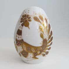 Mid Century Bjorn Wiinblad for Rosenthal Vase - Studio Line Peacock White and Gold Bird. $82.00, via Etsy.