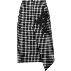 Raoul Asymmetric appliquéd checked wool-blend skirt (9.930 RUB) ❤ liked on Polyvore featuring skirts, black, below the knee skirts, wool blend skirt, below knee skirts, asymmetrical wrap skirt and wraparound skirt