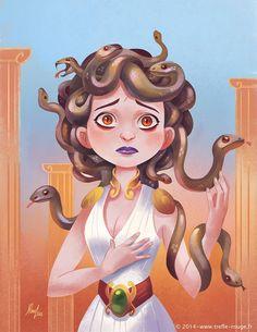 """""""Medusa"""" for Sketch Dailies Artwork © Jérémie Fleury Greek Creatures, Fantasy Creatures, Mythical Creatures, Medusa Art, Medusa Gorgon, Illustrations, Illustration Art, Greek Monsters, Rome Antique"""