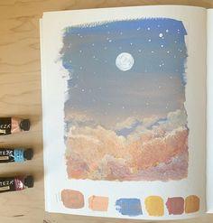 "M. Finn Art on Instagram: ""In the clouds. ✨ • • • • • • • #gouache #gouachepainting #gouacheillustration #gouacheart #sketchbook #sketchbookpainting #art #sketch…"" Sketchbook Cover, Arte Sketchbook, Sketchbook Ideas, Small Canvas Art, Mini Canvas Art, Aesthetic Painting, Aesthetic Art, Cute Paintings, Gouache Painting"