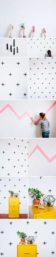 Crosses and Neon Washi Tape Wall Decor Ideas