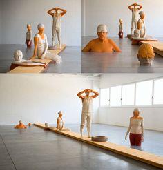 wooden sculptures by Italian artist Willy Verginer